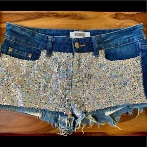 Victoria's Secret Pink Denim Bling Shorts